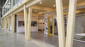 DIRTT Timber Frame uses glued-laminated timber and cross-laminated timber to create custom, pre-fabricated mezzanines.